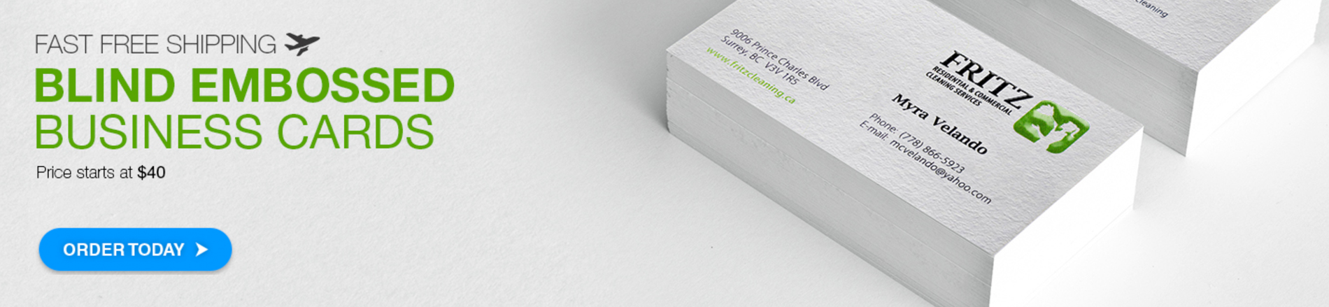 Blind Embossed Business Card by Aladdin Print