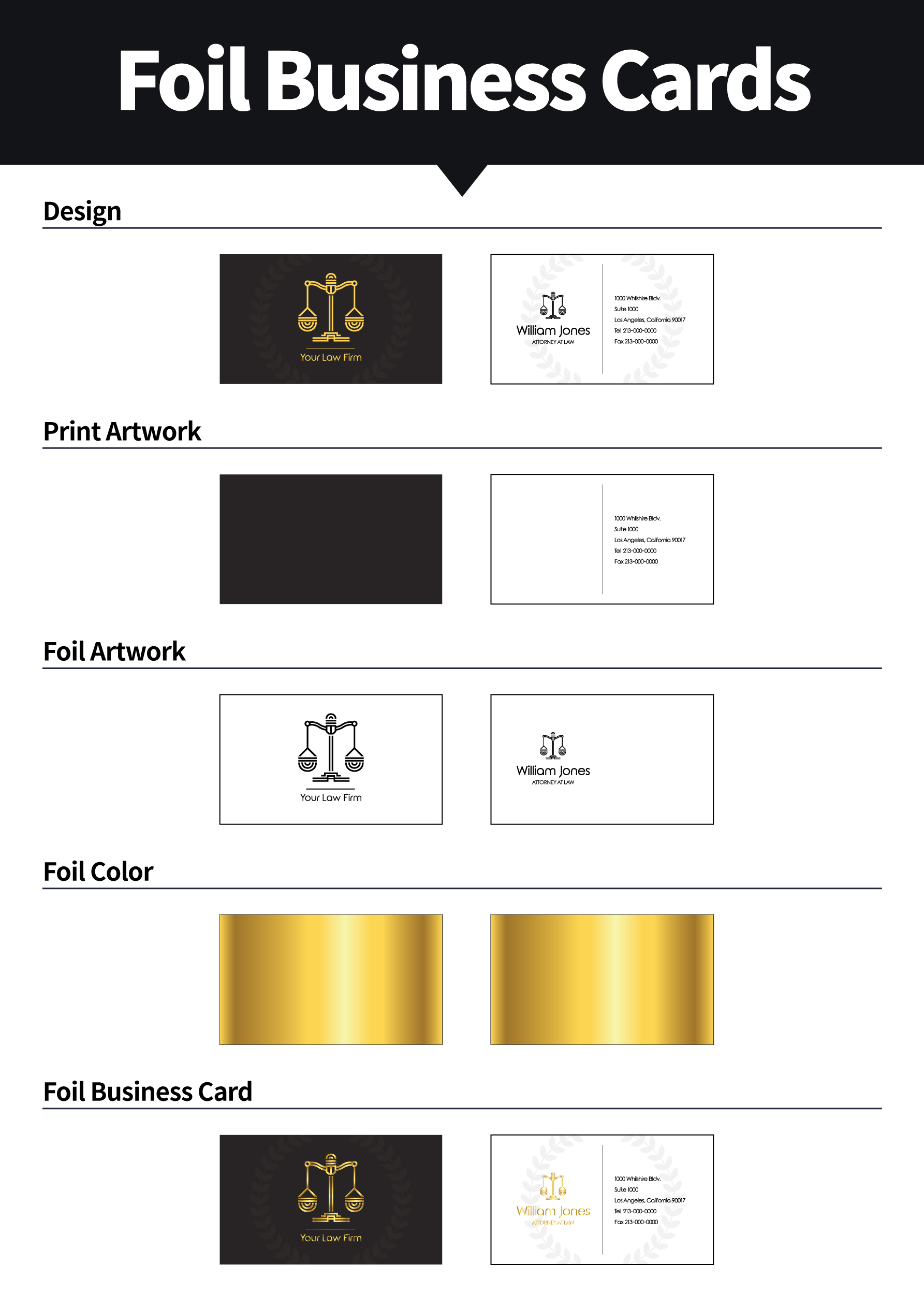 Foil business cards aladdinprint size information reheart Images