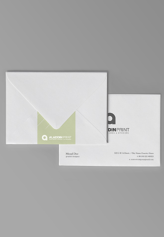 Business card sticker printing services aladdinprint available sizes envelope reheart Gallery