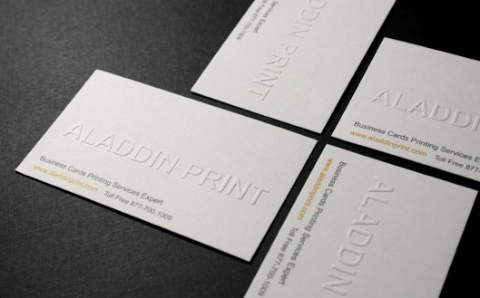 Business card sticker printing services aladdinprint blind embossed business cards more detail order reheart Images